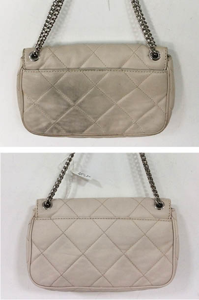 a4f8423cc898 Dye transfer from blue jeans on to a cream handbag is the stuff nightmares!  Luckily this Michael Kors customer sent her handbag into The Handbag Spa,  ...