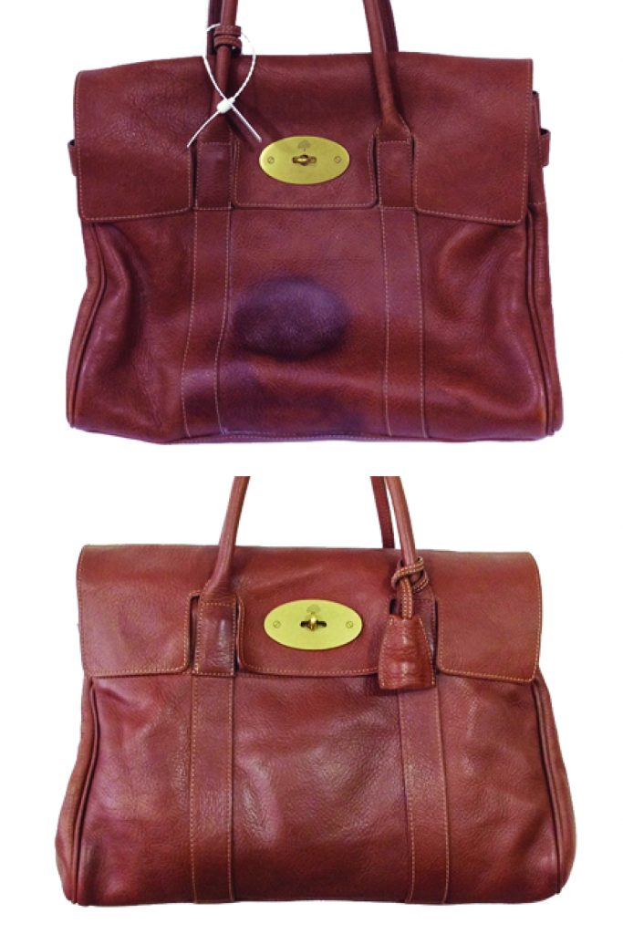 014c02156200 The bottom of leather handbags can pick up all kinds of stains and marks  over time and with use