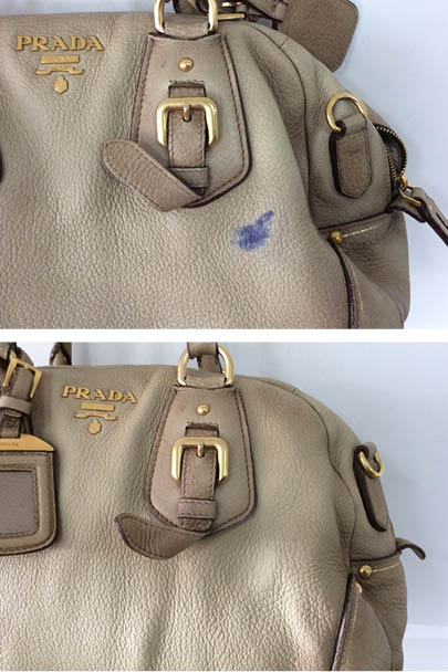 f436405226b0 Purses can easily pick up stains from being carried around in a women's  handbag daily! This Prada purse was in need of a little rejuvenation when  it came ...