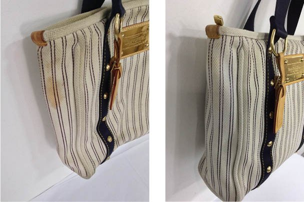 This Fabric Louis Vuitton Handbag Came Into The Spa With A Stain Ruining Its Nautical And Stylish Earance After Undertaking Removal Process At